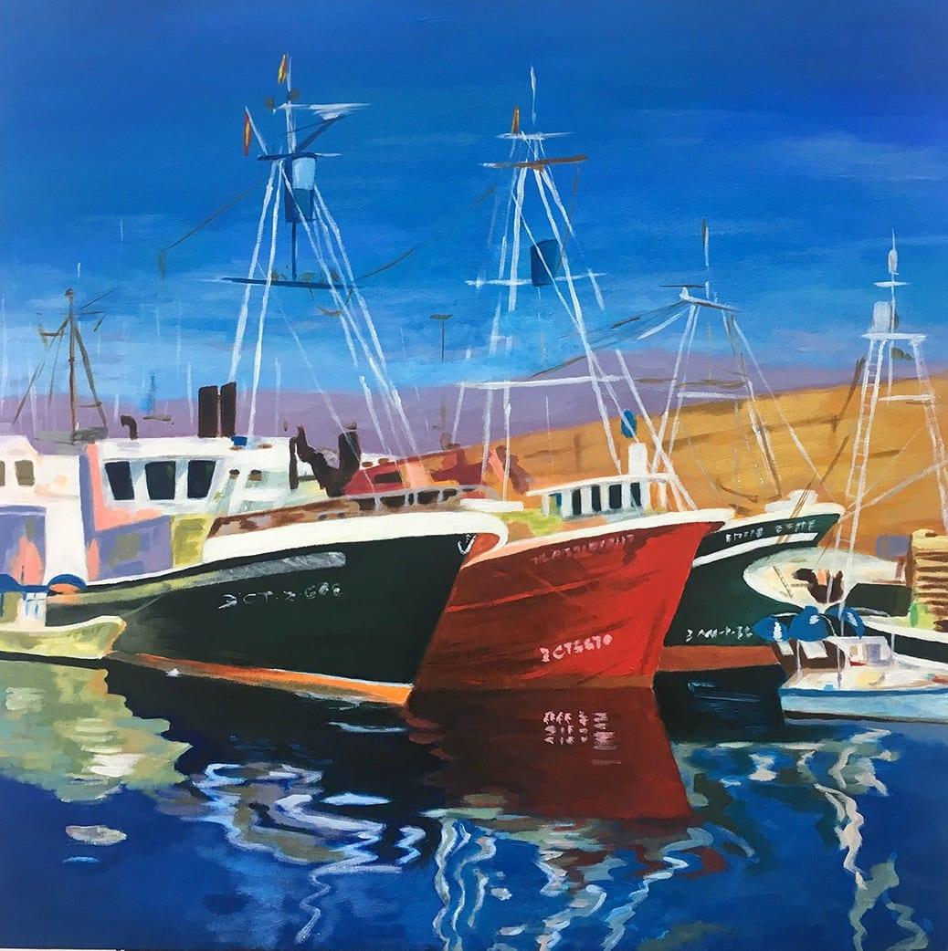 deGranero barcos acrílico sobre lienzo