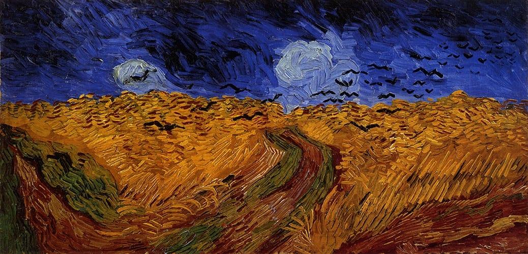 deGranero clases pintura Madrid. Campo de trigo con vuelo de Cuervos.