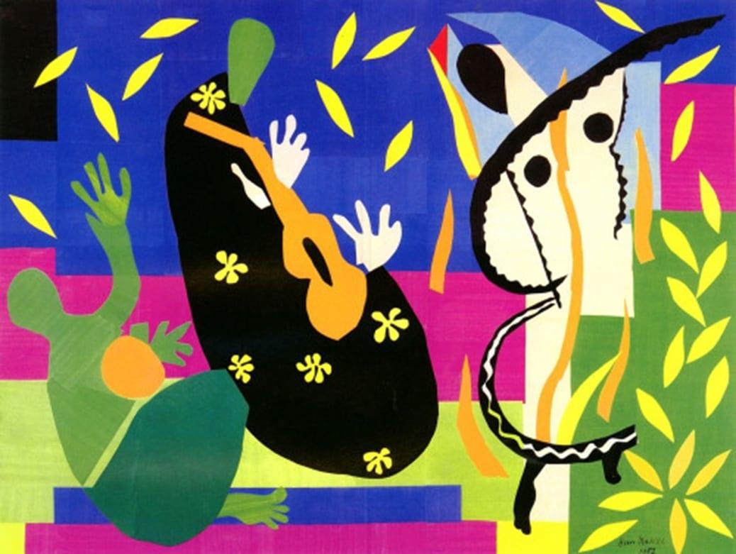 La Tristeza del rey, Henri Matisse (1952). Gouache sobre papel recortado y encolado en tela. 292 x 386 cm. Centro Georges Pompidu, París.