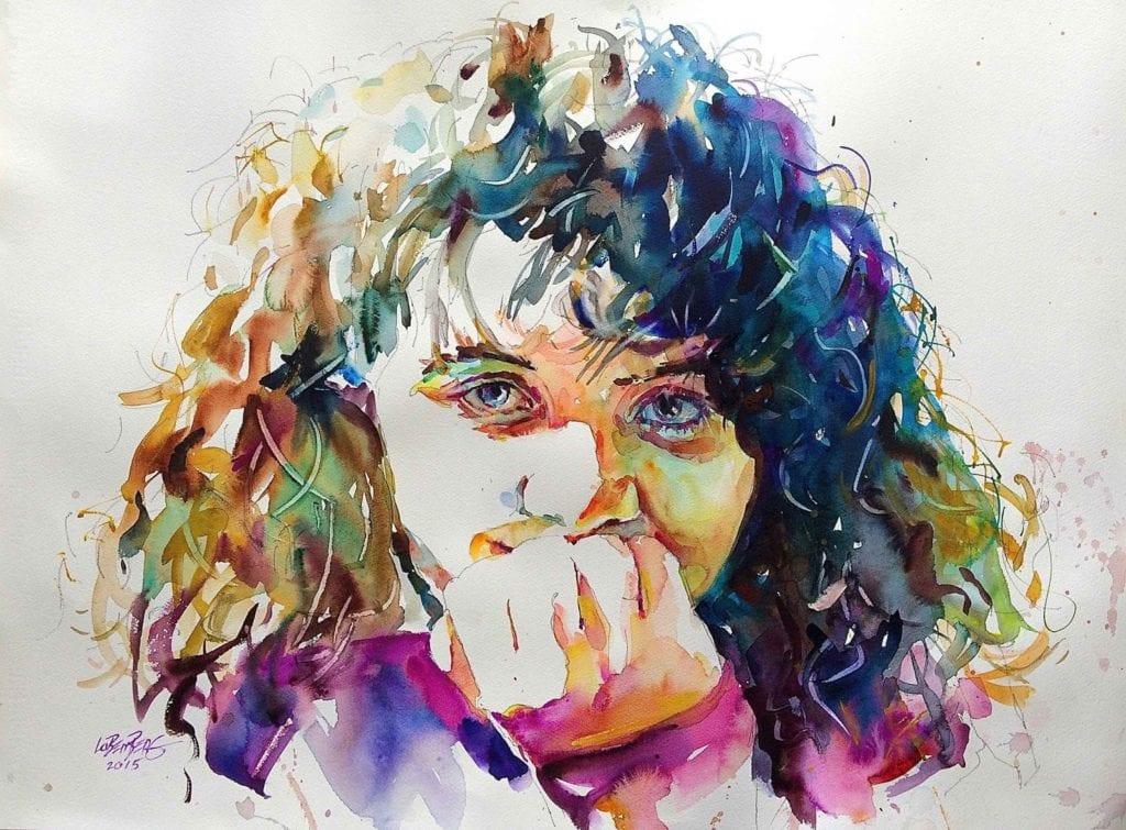 """""""Niña"""", David Lobenberg. pintar retratos con acuarela"""